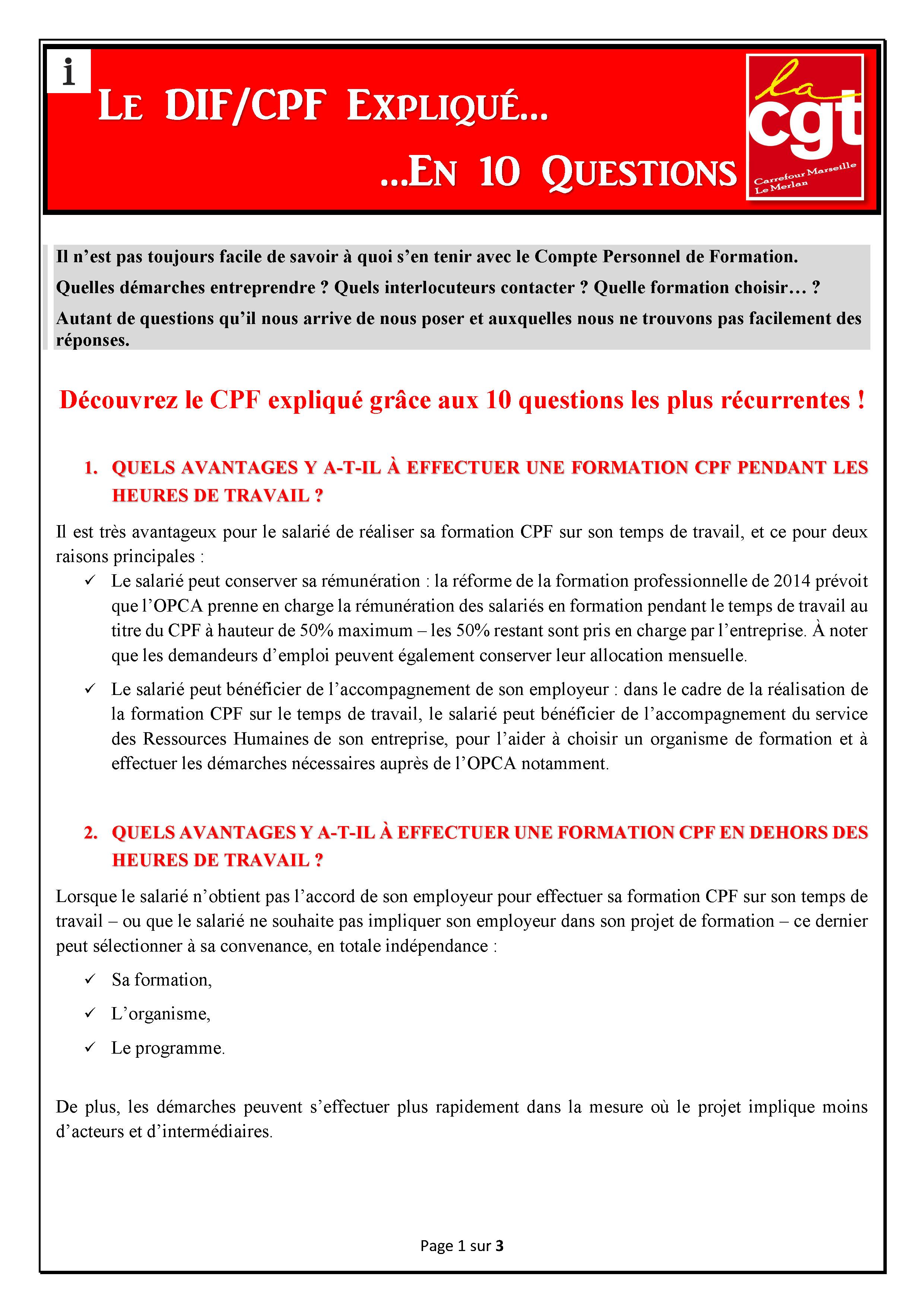 Le DIF/CPF expliqué en 10 Questions
