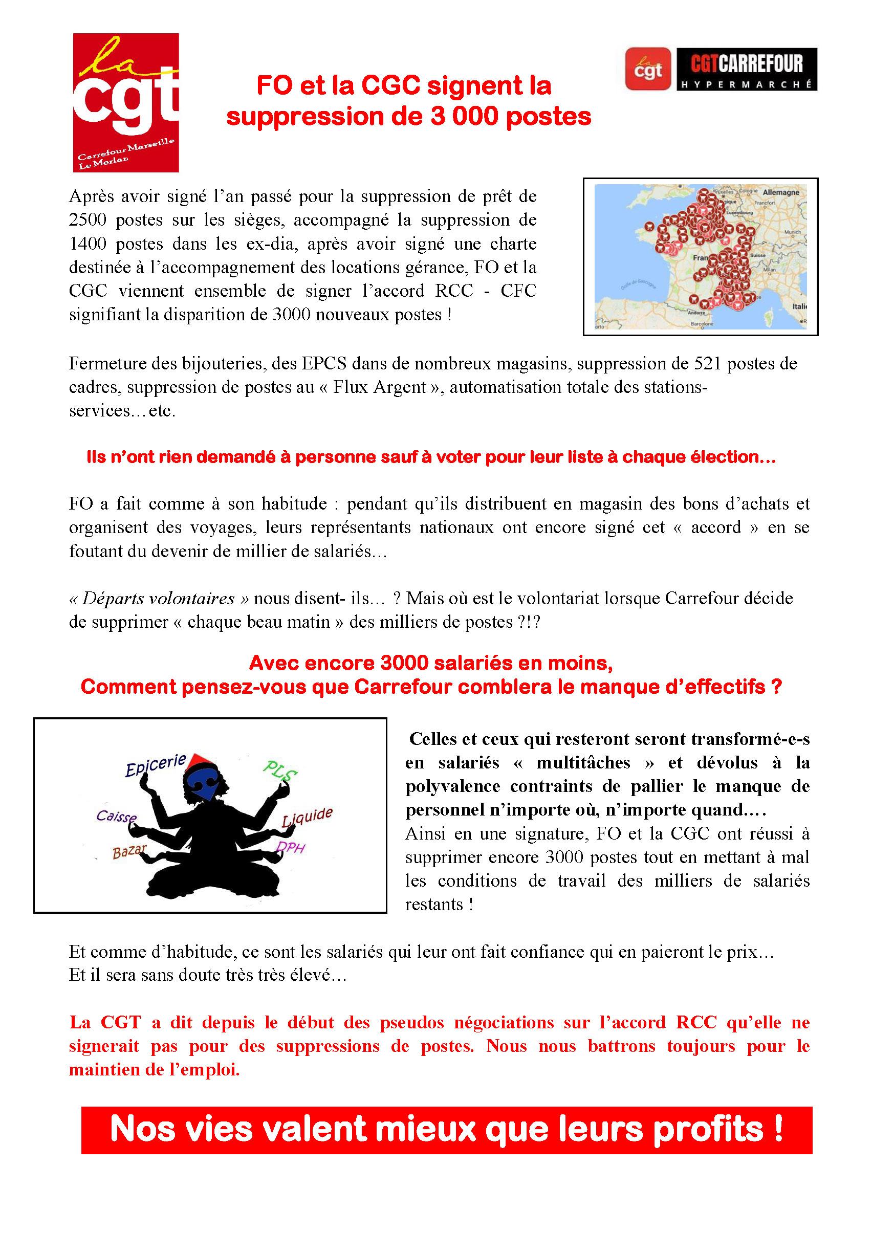 FO et la CGC signent la suppression de 3 000 postes