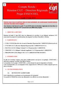 CR: Réunion CGT – Direction Régionale Projet ESSENTIEL