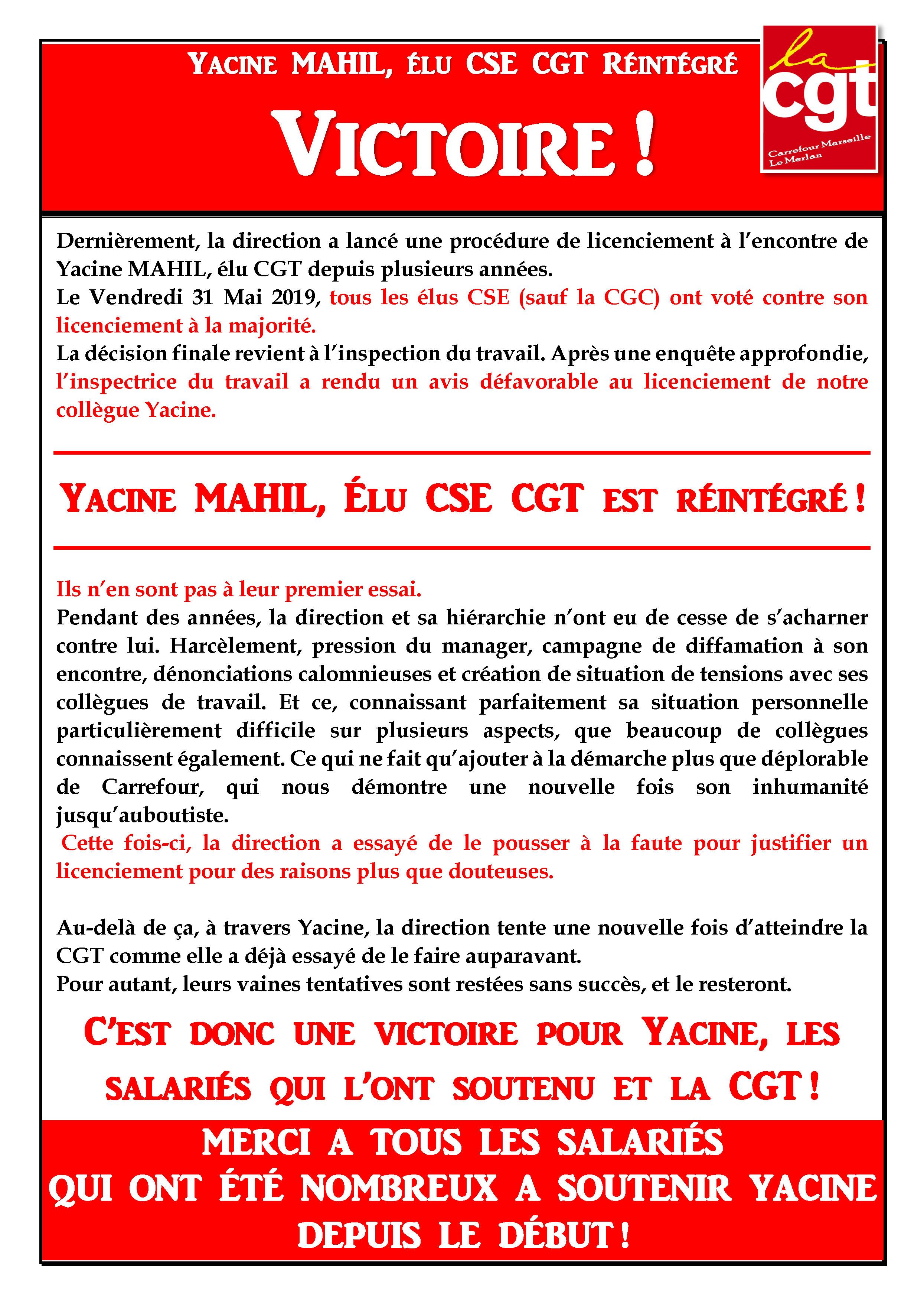VICTOIRE: Yacine MAHIL Elu CSE CGT réintégré !