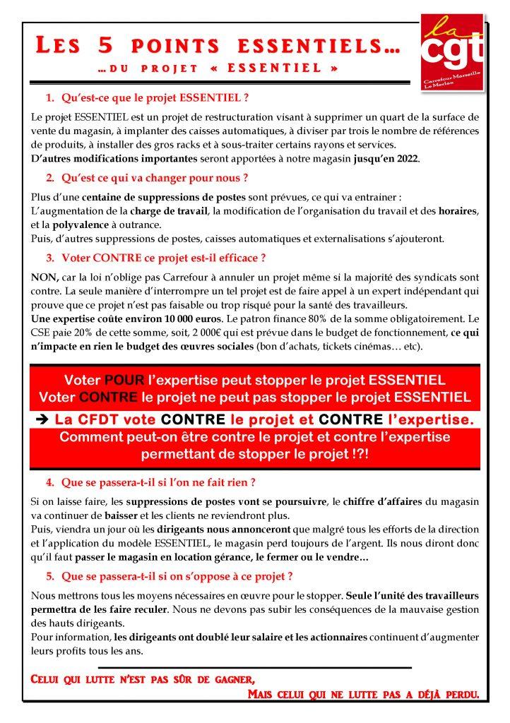 Tract Les 5 points Essentiels du projet ESSENTIEL