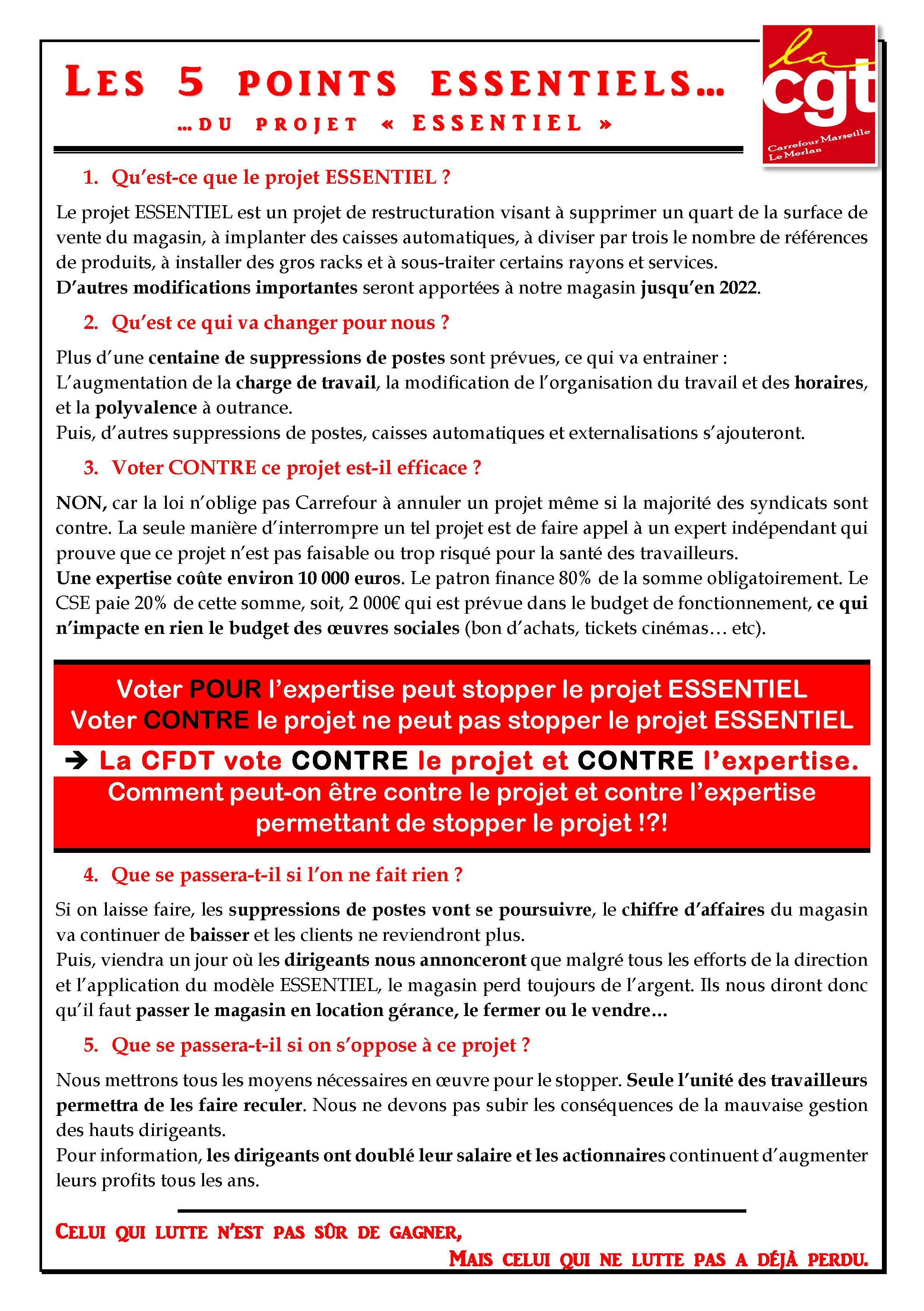 Les 5 points Essentiels… Du projet «ESSENTIEL»