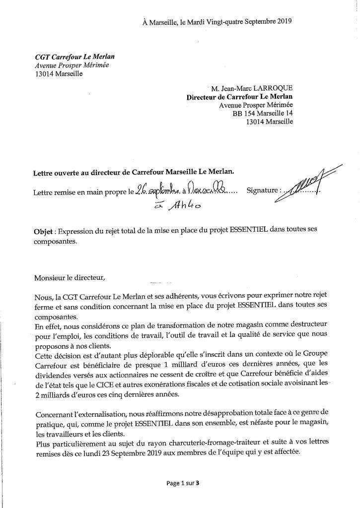 Lettre Ouverte au directeur de Carrefour Le Merlan