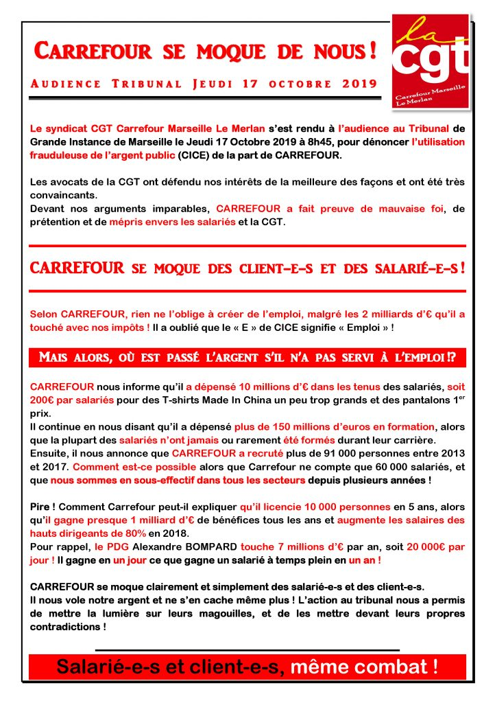 Tract Rapport Audience TGI 17 Octobre