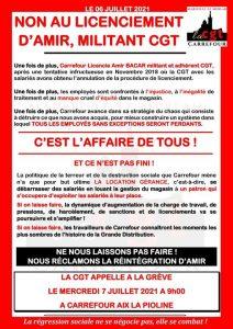 NON AU LICENCIEMENT D'AMIR BACAR, MILITANT CGT